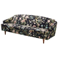Danish Sofa in Floral Upholstery