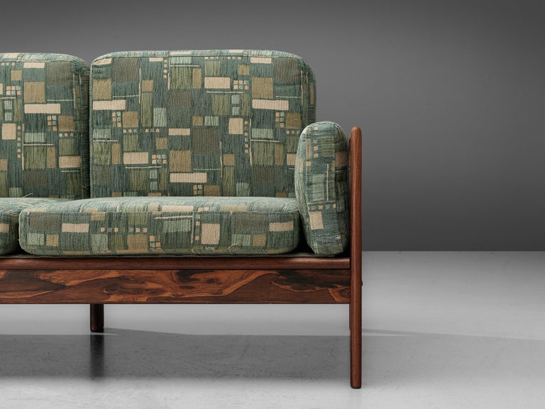 Danish Sofa in Green Patterned Upholstery For Sale 4