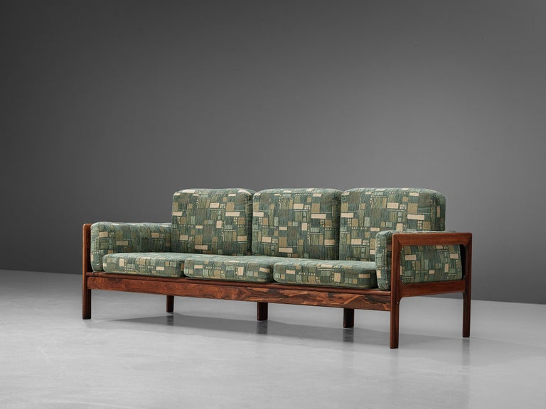Scandinavian Modern Danish Sofa in Green Patterned Upholstery For Sale