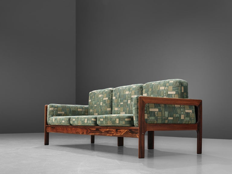 Danish Sofa in Green Patterned Upholstery In Good Condition For Sale In Waalwijk, NL