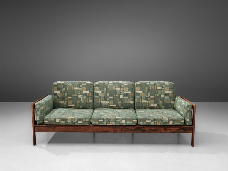 Mid-20th Century Danish Sofa in Green Patterned Upholstery For Sale