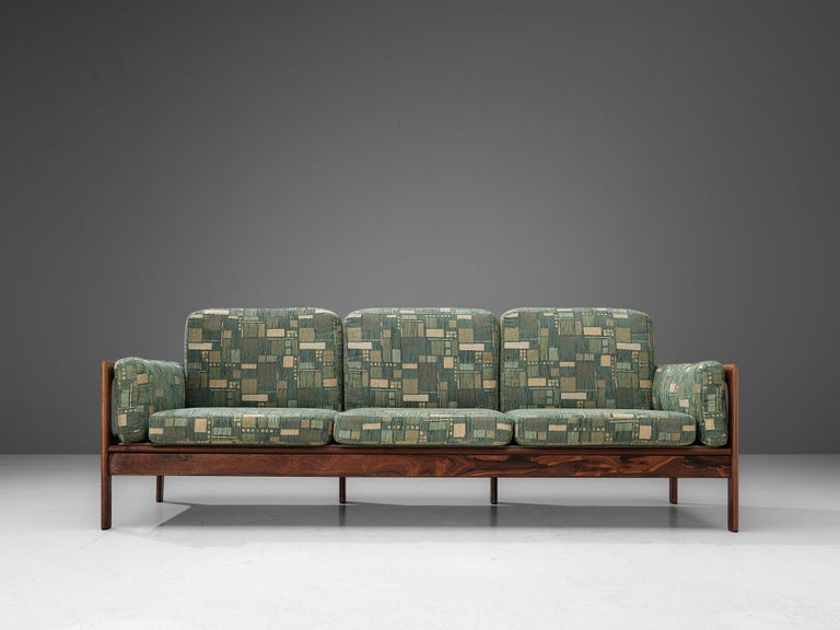 Fabric Danish Sofa in Green Patterned Upholstery For Sale
