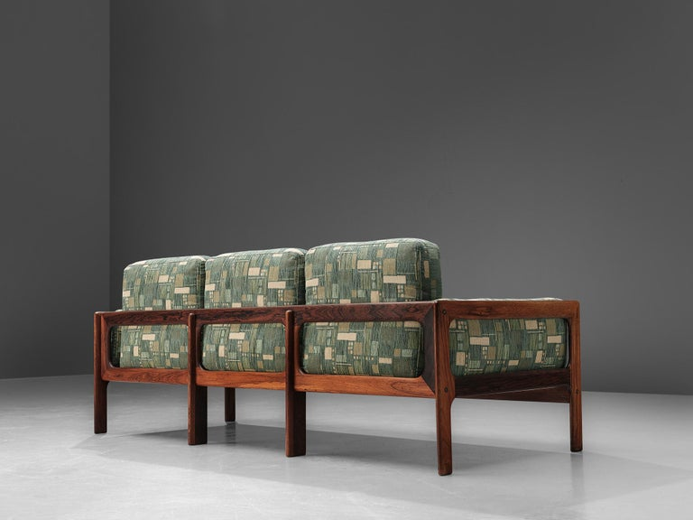 Danish Sofa in Green Patterned Upholstery For Sale 1