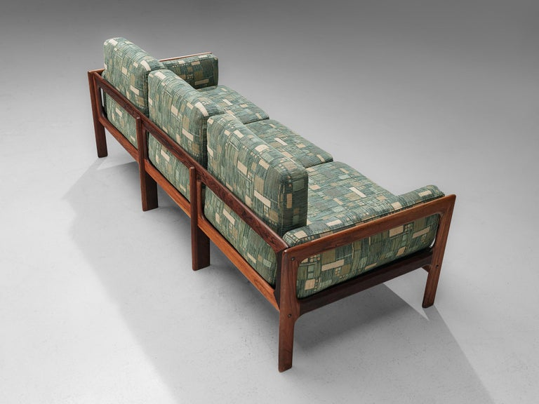 Danish Sofa in Green Patterned Upholstery For Sale 2