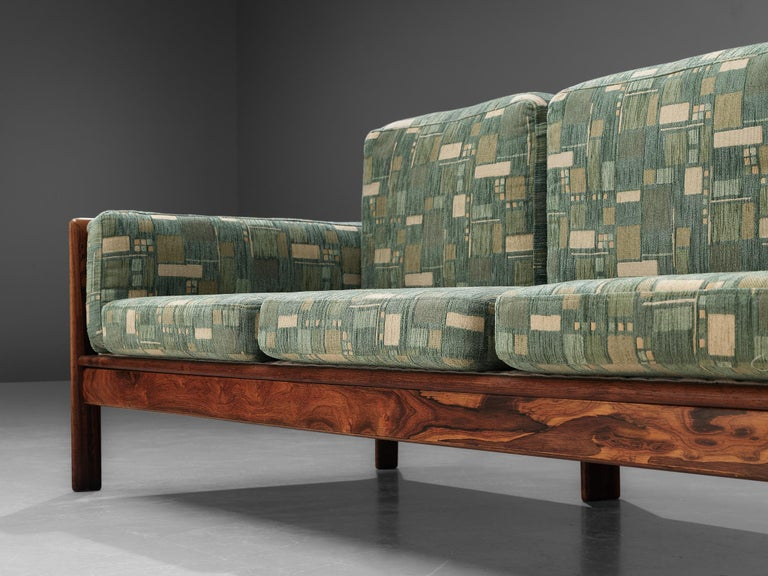 Danish Sofa in Green Patterned Upholstery For Sale 3