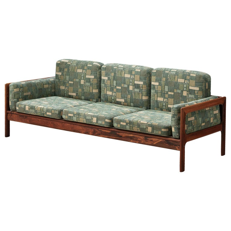 Danish Sofa in Green Patterned Upholstery For Sale