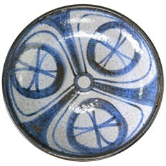 Danish Soholm Handmade Blue, Grey Centrepiece or Wall Decoration, 1960s