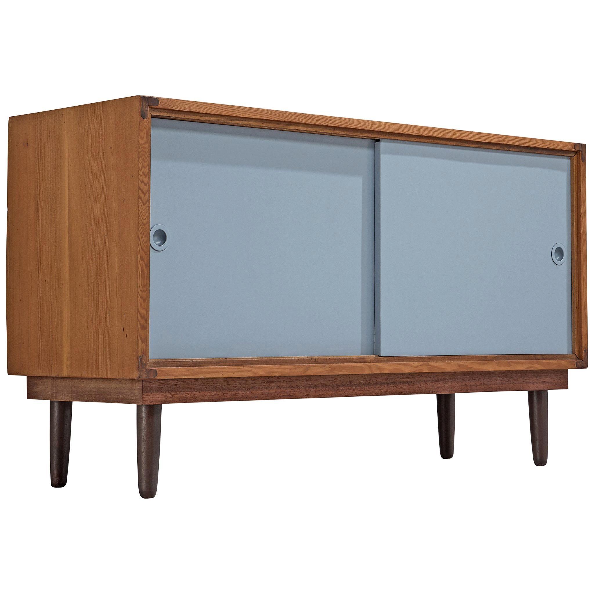 Danish Solid Pine Cabinet with Blue Sliding Doors, Denmark, 1950s