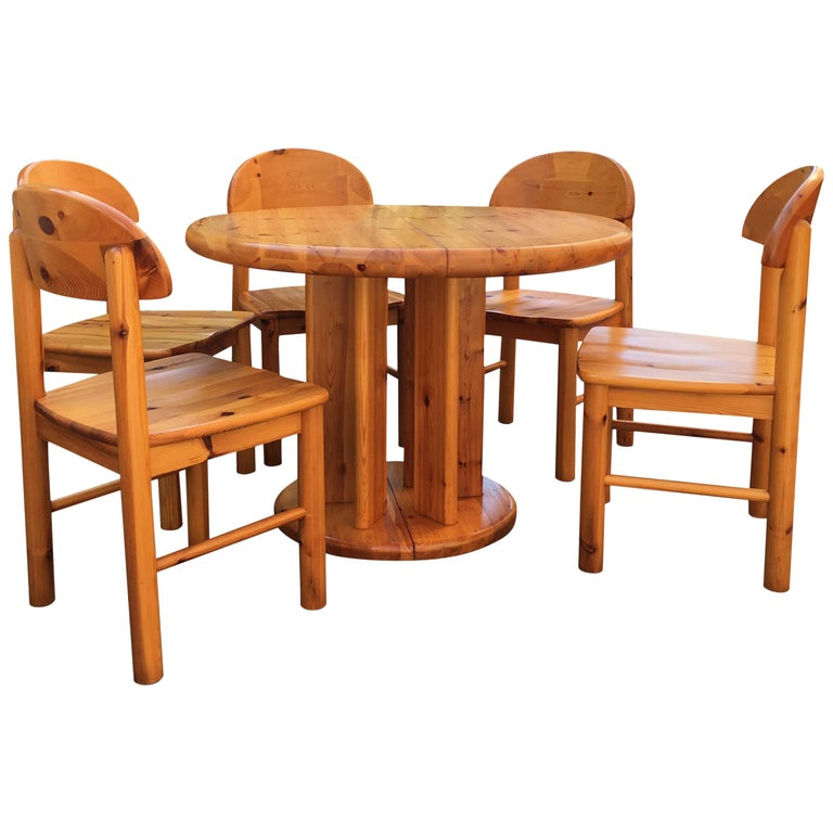 Danish Solid Pine Extension Dining Set by Rainer Daumiller for Hirtshals Sawmil For Sale