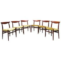 Danish Solid Teak and Velvet Chairs by Hans Wegner by Madsens, 1950s