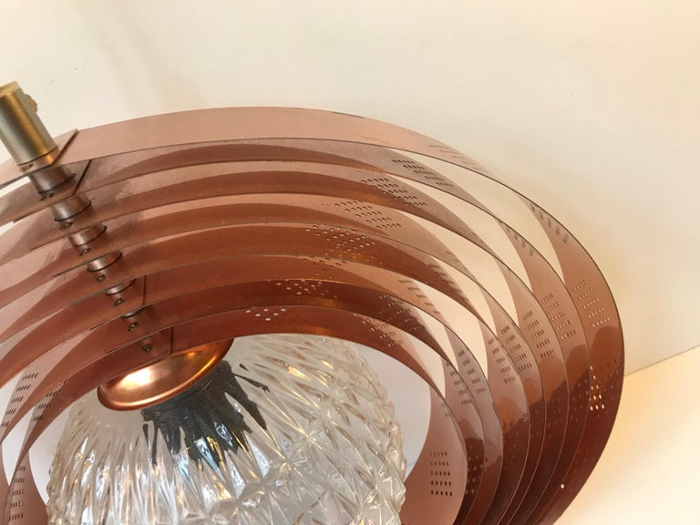 Danish Space Age Copper Moon Pendant Lamp by Werner Schou for Coronell, 1960s For Sale 5
