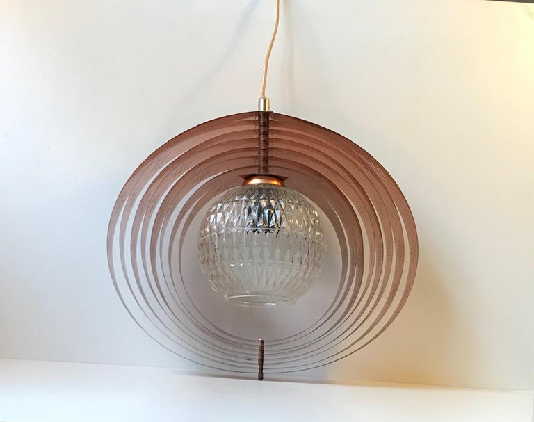 Mid-Century Modern Danish Space Age Copper Moon Pendant Lamp by Werner Schou for Coronell, 1960s For Sale