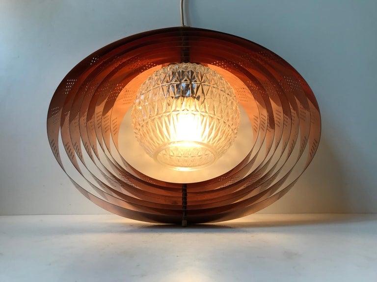 Danish Space Age Copper Moon Pendant Lamp by Werner Schou for Coronell, 1960s In Good Condition For Sale In Esbjerg, DK