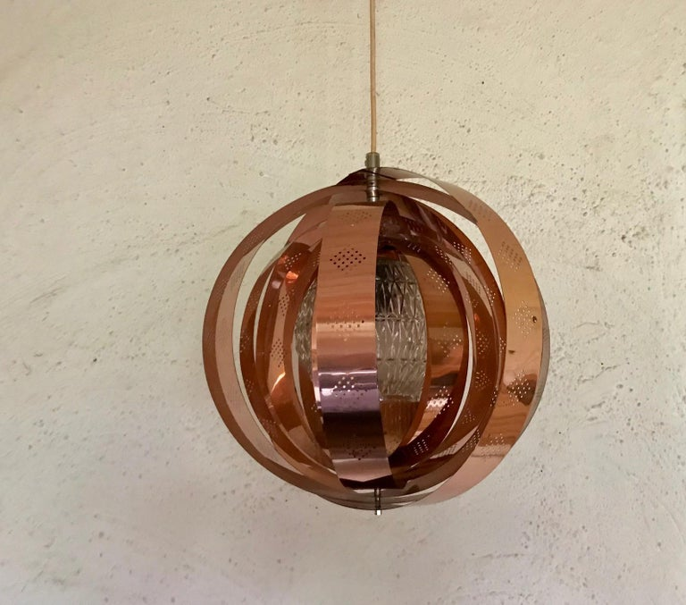 Mid-20th Century Danish Space Age Copper Moon Pendant Lamp by Werner Schou for Coronell, 1960s For Sale