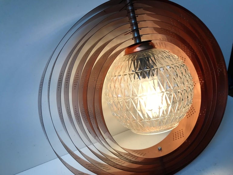 Danish Space Age Copper Moon Pendant Lamp by Werner Schou for Coronell, 1960s For Sale 1