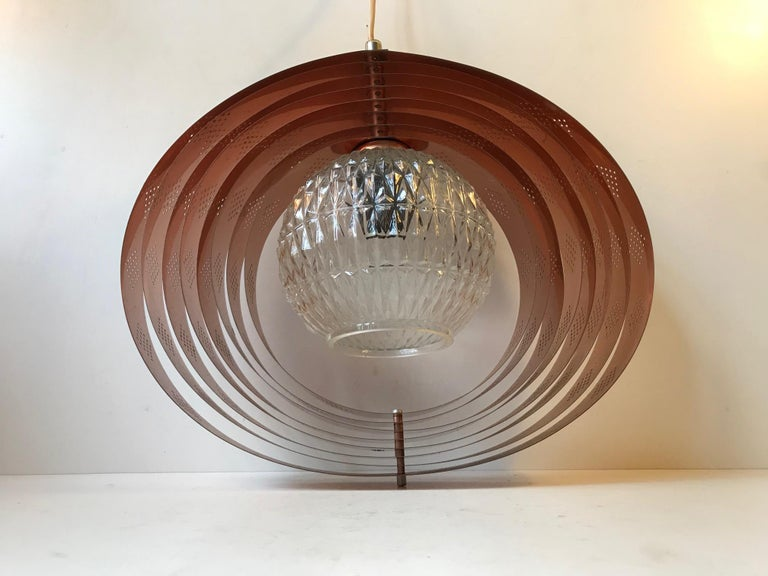 Danish Space Age Copper Moon Pendant Lamp by Werner Schou for Coronell, 1960s For Sale 2