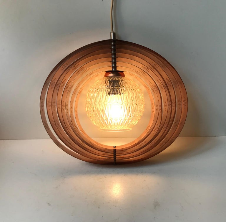Danish Space Age Copper Moon Pendant Lamp by Werner Schou for Coronell, 1960s For Sale 3