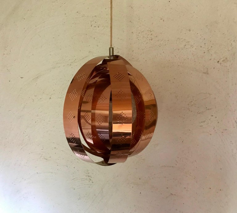 Danish Space Age Copper Moon Pendant Lamp by Werner Schou for Coronell, 1960s For Sale 4