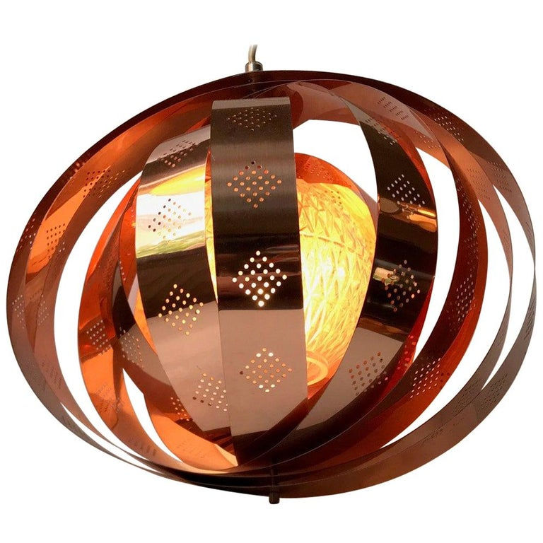 Danish Space Age Copper Moon Pendant Lamp by Werner Schou for Coronell, 1960s For Sale