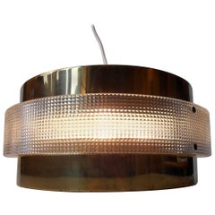 Danish Space Age 'Flying Saucer' Ceiling Lamp in Brass, Lyfa, 1970s