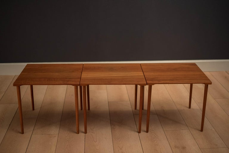 Danish Stacking Teak End Tables by France & Daverkosen For Sale 1