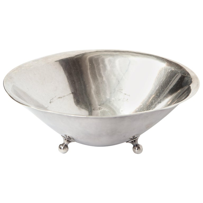 Danish Sterling Silver Footed Dish, circa 1950 For Sale