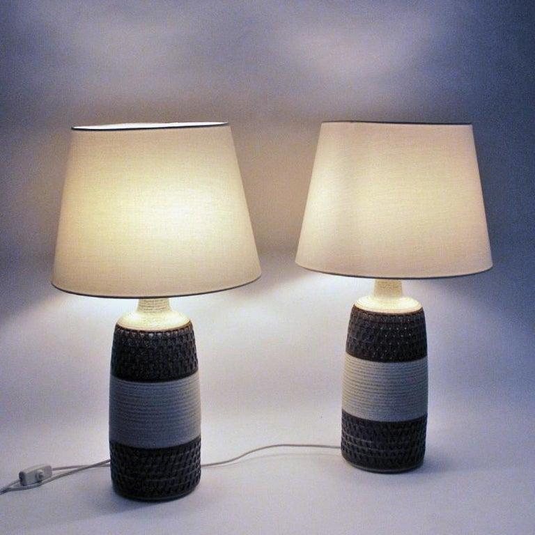 Scandinavian Modern Danish Stoneware Table Lamp Pair by Søholm Keramik, Bornholm, 1960s