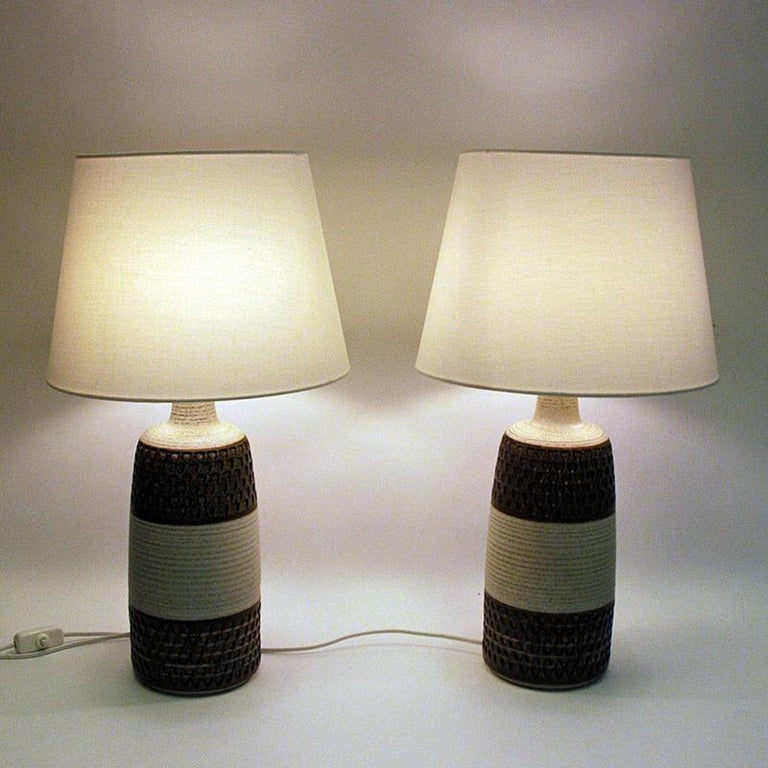 Glazed Danish Stoneware Table Lamp Pair by Søholm Keramik, Bornholm, 1960s