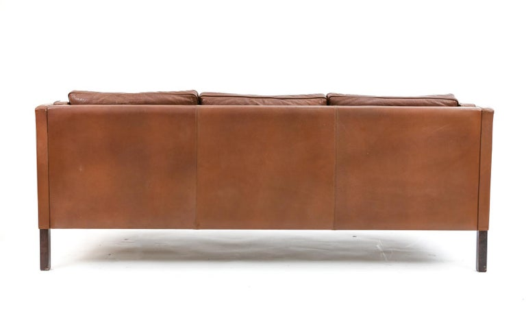 Danish Stouby Leather Three-Seat Sofa For Sale 9