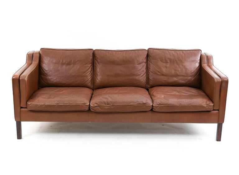 Mid-Century Modern Danish Stouby Leather Three-Seat Sofa For Sale