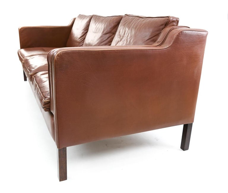 Danish Stouby Leather Three-Seat Sofa For Sale 4