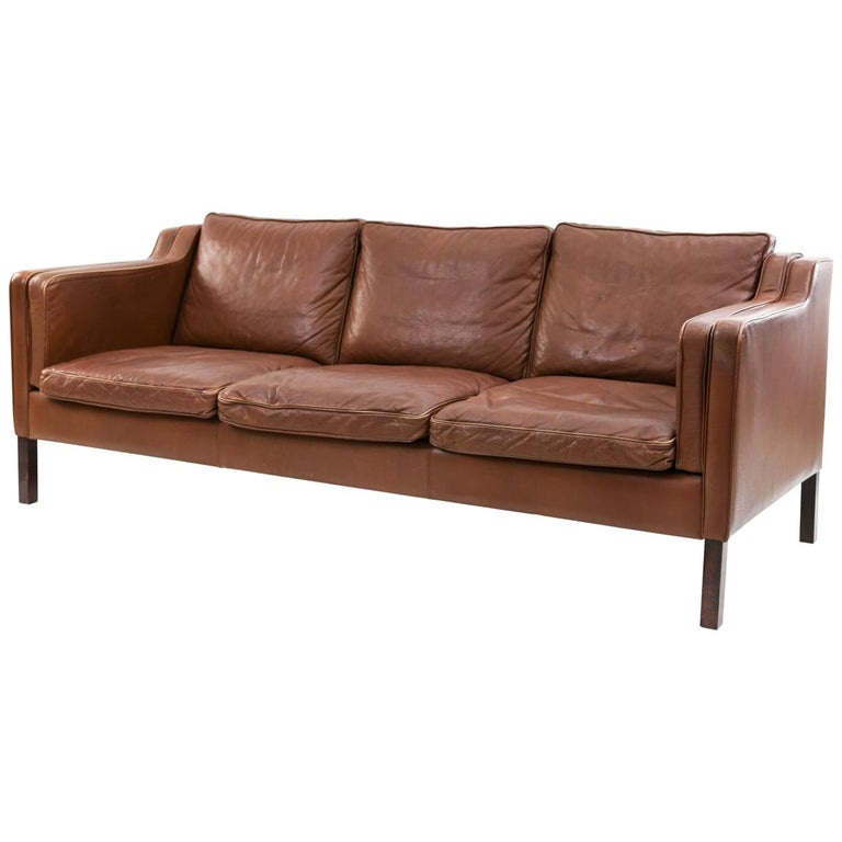 Danish Stouby Leather Three-Seat Sofa For Sale