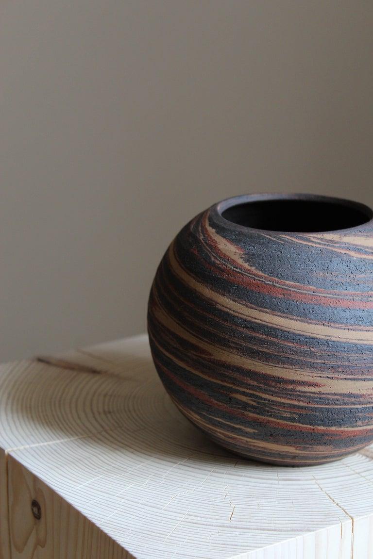 Mid-Century Modern Danish Studio Ceramicist, Vase, Handpainted Stoneware, Denmark, 1950s