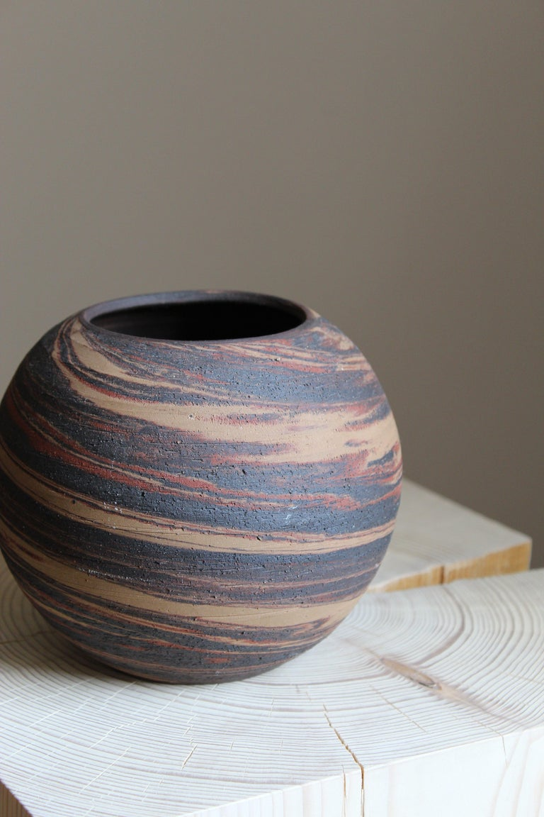 Danish Studio Ceramicist, Vase, Handpainted Stoneware, Denmark, 1950s In Good Condition In West Palm Beach, FL