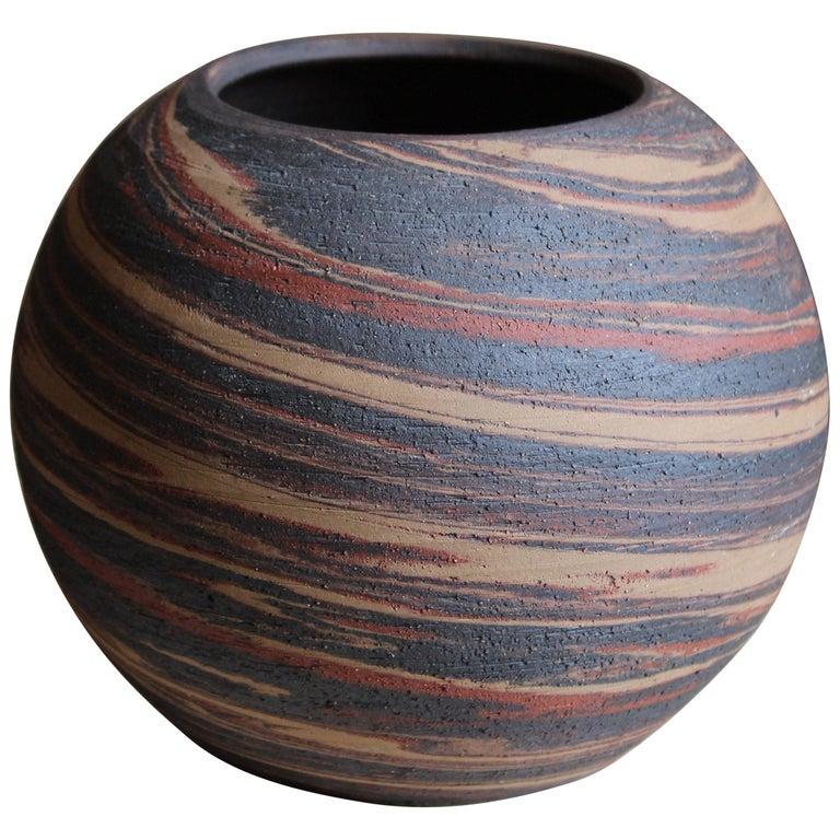 Danish Studio Ceramicist, Vase, Handpainted Stoneware, Denmark, 1950s
