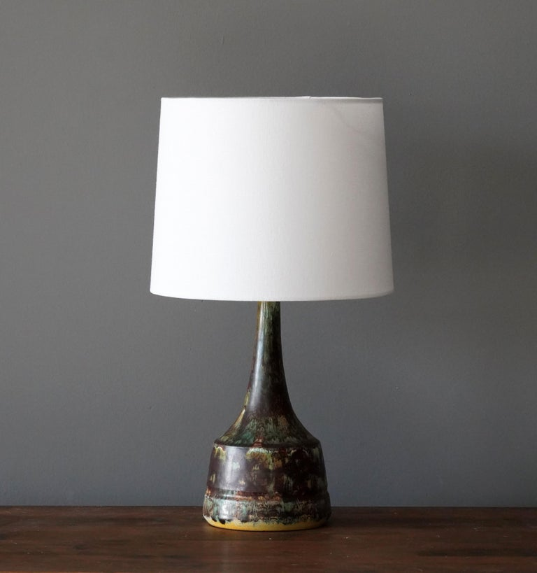 A table lamp produced and design by unknown Danish studio potter.