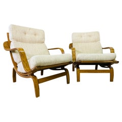Danish Style Bent Oak Wood Lounge Chairs, Pair