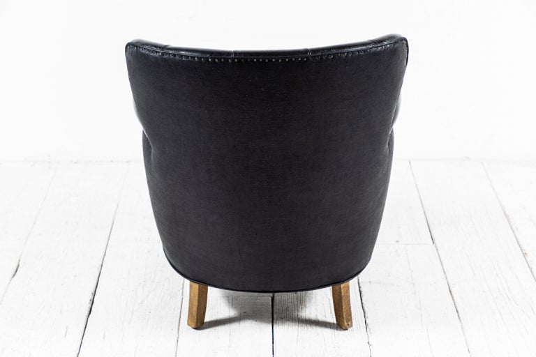 Danish Style Black Leather Tufted Pair of Chairs For Sale 1