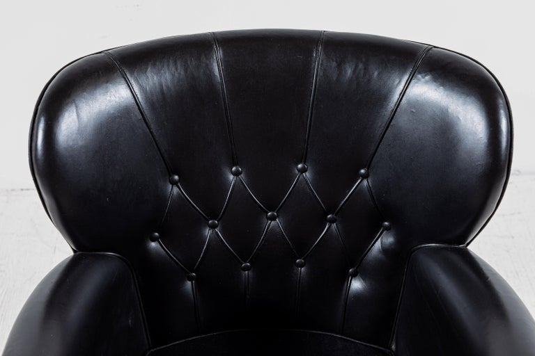 Danish Style Black Leather Tufted Pair of Chairs For Sale 3