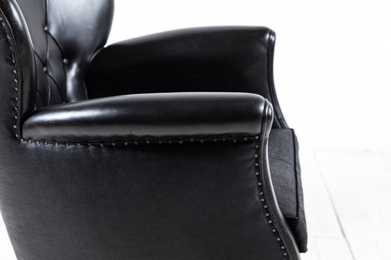 Danish Style Black Leather Tufted Pair of Chairs For Sale 5