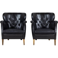 Danish Style Black Leather Tufted Pair of Chairs