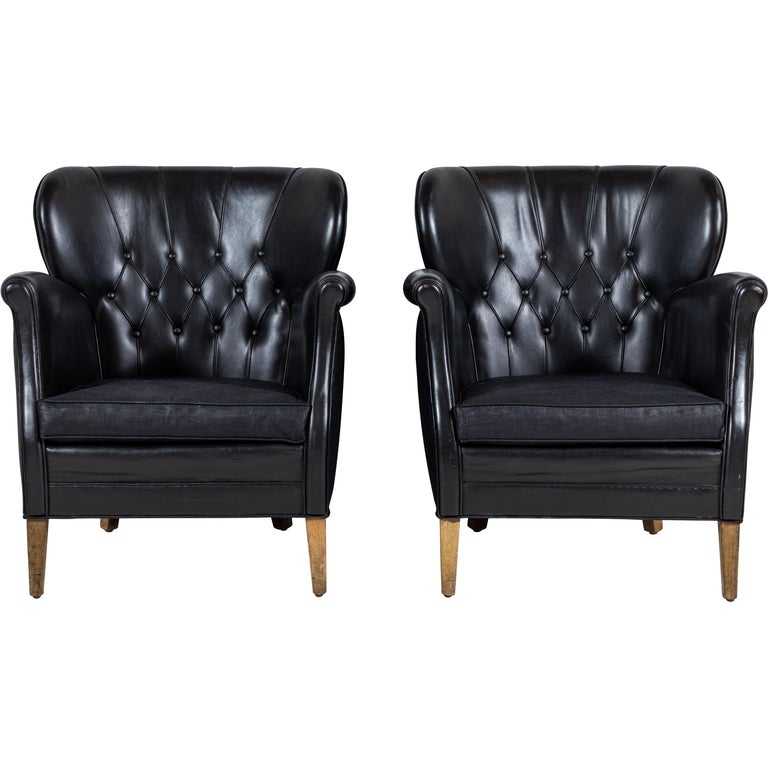 Danish Style Black Leather Tufted Pair of Chairs For Sale