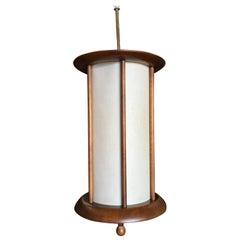 Danish Style Mid-Century Walnut Cylinder Pendant