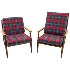 Danish Style Midcentury Walnut Lounge Chairs, Pair