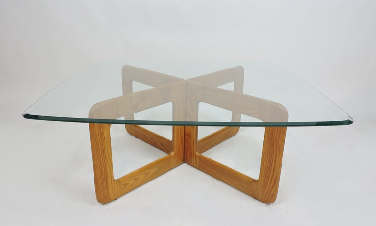 Unknown Danish Style Oak and Glass Coffee Table with X-Base