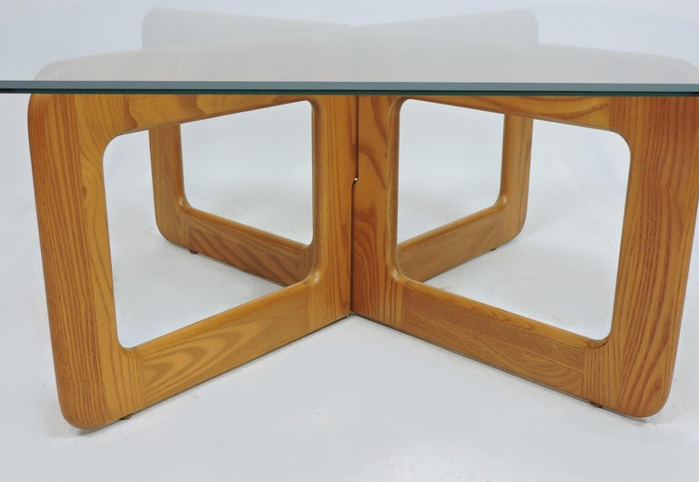 Danish Style Oak and Glass Coffee Table with X-Base In Good Condition In Chesterfield, NJ
