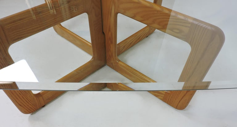 Danish Style Oak and Glass Coffee Table with X-Base 1