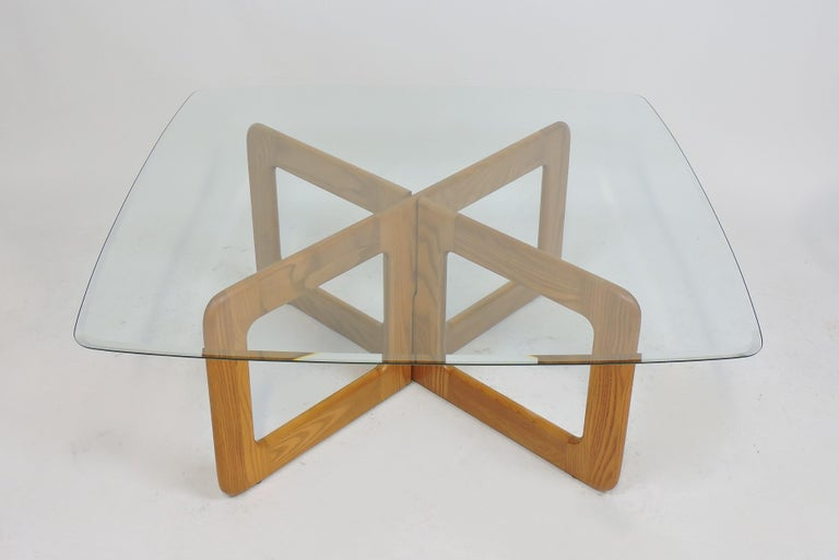 Danish Style Oak and Glass Coffee Table with X-Base 2