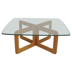 Danish Style Oak and Glass Coffee Table with X-Base