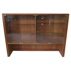 Danish Styled Teak Wood Bookcase with Glass Doors